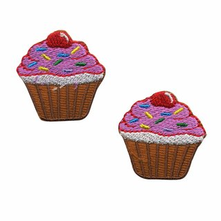 Aufnäher - Muffin - braun - 2er Set - Patch