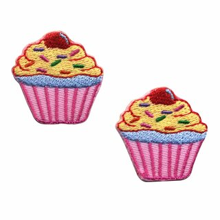 Aufnäher - Muffin - pink - 2er Set - Patch